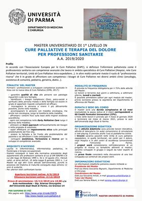Master in Cure Palliative e Terapia del Dolore per professioni sanitarie