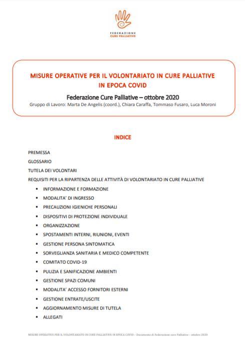 Misure operative per il volontariato in cure palliative in epoca Covid-19